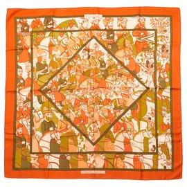 Hermès-Scarf 90 ALI BABA 1972 Collector-Orange,Khaki