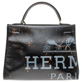 "Hermès-Creation by trompe l'oeil by Kelly PatBo 32 ""Rodeo"" in black box leather and gold-plated hardware-Black"