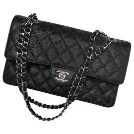 Chanel-w/ full set Medium lined Flap Caviar Handbag-Black