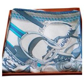 Hermès-Silk scarves-Light blue