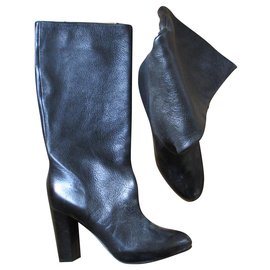 Chloé-Black calf leather boots, 36,5.-Black