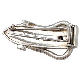 Hermès-Clip Hermès boucle de ceinture en argent.-Autre