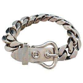 Hermès-Bracelet hermès motif ceinture en argent.-Autre