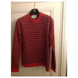 Gucci-Pull jacquard neuf avec facture-Noir,Blanc,Rouge