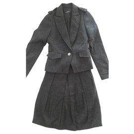 Massimo Dutti-Tailleur jupe en laine Massimo Dutti, taille 38, couleur bleu et gris-Bleu