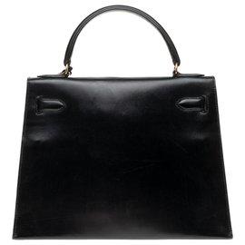 Hermès-Sublime and unique Hermès Kelly bag creation 28 Saddlebag Leather Box and Crocodile Black Porosus-Black