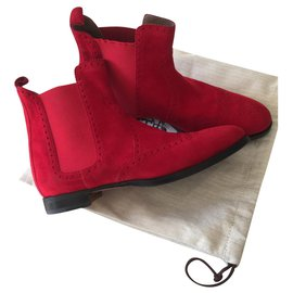 Hermès-Hermes Brighton Boots-Red