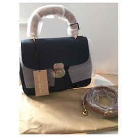 Burberry-Burberry The Medium DK88 Top Handle Bag-Dark blue