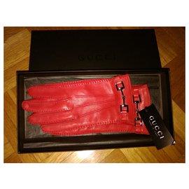Gucci-GUCCI gants en cuir rouge avec de l'argent-Rouge