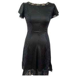Dolce & Gabbana-Robe noire en soie stretch Dolce et Gabbana-Noir