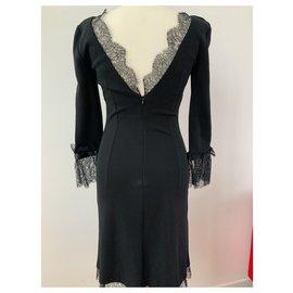 Dolce & Gabbana-Robe noire col en v, viscose avec dentelles stretch Dolce et Gabbana-Noir