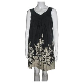 Temperley London-A line silk dress-Black,Cream