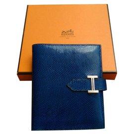 Hermès-Hermès Bearn Varanus Niloticus Wallet Authentic-Blue