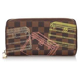 Louis Vuitton-Louis Vuitton Brown Damier Ebene Inventuer Trunks and Locks Zippy Wallet-Brown,Multiple colors