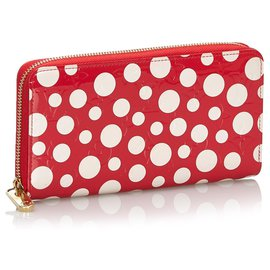 Louis Vuitton-Louis Vuitton Red Dots Infinity Vernis Zippy Wallet-White,Red
