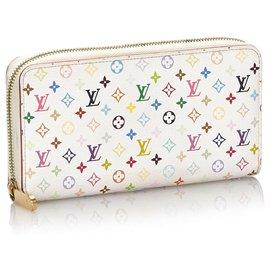 Louis Vuitton-Louis Vuitton White Monogram Multicolore Zippy Wallet-White,Multiple colors