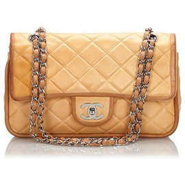 Chanel-Chanel Brown Medium Lambskin lined Flap Bag-Brown,Beige,Light brown