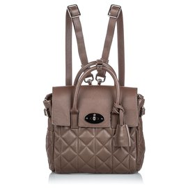 Mulberry-Mulberry Brown Quilted Cara Delevigne Backpack-Brown
