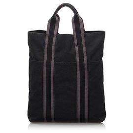 Hermès-Hermes Black cabas Cabas-Noir,Autre,Gris