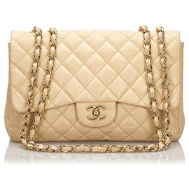 Chanel-Chanel Brown Jumbo Classic Umhängetasche-Braun,Beige