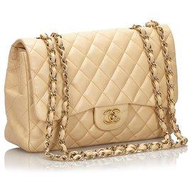 Chanel-Sac Chanel Jumbo Classique Marron Classique-Marron,Beige