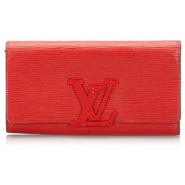 Louis Vuitton-Louis Vuitton Red Epi Louise Long Wallet-Red