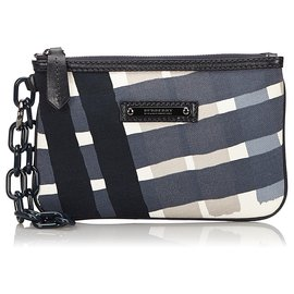 Burberry-Burberry Black Printed Canvas Pouch-Black,Multiple colors