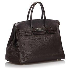 Hermès-Hermes Brown Togo Ebene Birkin 35-Brown,Dark brown
