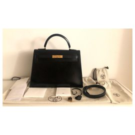 Hermès-hermes kelly 32 black box leather-Black