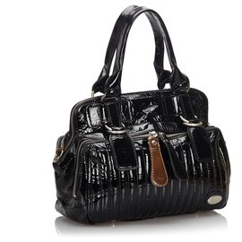 Chloé-Chloe Black Patent Leather Bay Handbag-Black