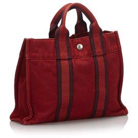 Hermès-Hermes cabas Rouge-Rouge