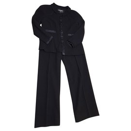 Chanel-set Chanel jacket / pants in wool and silk-Black