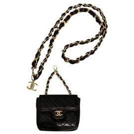 Chanel-Vintage Chanel 1990s Micro Mini Lambskin Quilted Belt Bag-Black