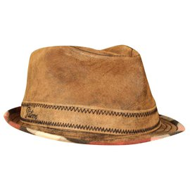 Autre Marque-boiled leather hat-Brown