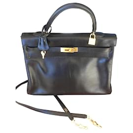 Hermès-Kelly en box. noir-Noir
