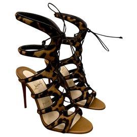 Christian Louboutin-Christian Louboutin Amazoulo Sandals-Light brown,Dark brown