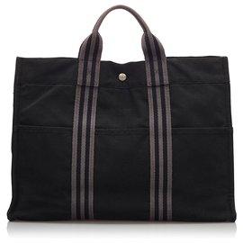 Hermès-Hermes Black cabas MM-Noir,Gris