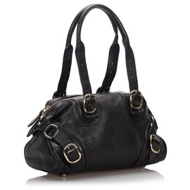 Burberry-Burberry Black Leather Shoulder Bag-Black