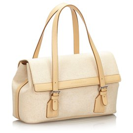Burberry-Burberry White Canvas Handbag-Brown,White,Beige