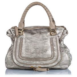 Chloé-Chloe Silver Leather Marcie Handbag-Silvery