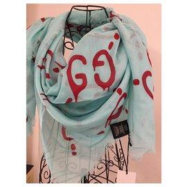 Gucci-GG étole le lettrage GG-Rouge,Bleu