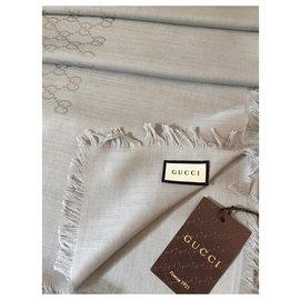 Gucci-Écharpe monogramme-Gris