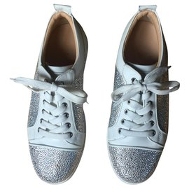 Christian Louboutin-SUEDE EN STRASS JUNIOR-Blanc