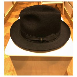 Borsalino-BORSALINO NEW FUR FELT HAT-Black