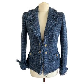 Luisa Spagnoli-Veste bleu en lainage-Bleu