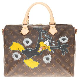 "Louis Vuitton-BRAND NEW - Speedy Bag 30 with custom Monogram canvas shoulder strap ""Duck Hunting"" by PatBo-Brown"