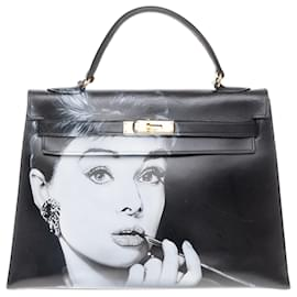 "Hermès-hermes kelly 32 saddle in black box ""Audrey Hepburn"" customized by the artist PatBo!-Black"