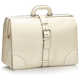 Prada-Prada White Saffiano Leather Business Bag-White