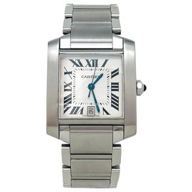"Cartier-Cartier ""Tank Française"" watch in steel on steel.-Other"