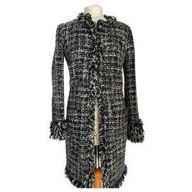 Luisa Spagnoli-Manteau noir et blanc style Chanel en lainage IT42-Autre